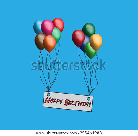 Happy Birthday with balloons on a blue background