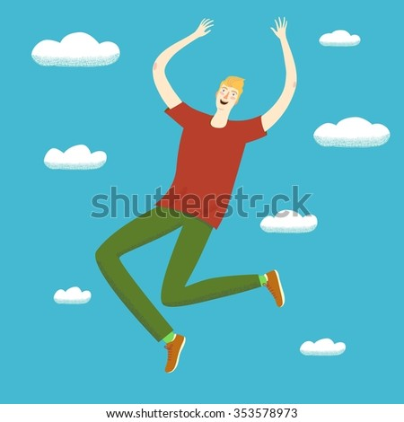 Happy boy jumping up in the skies. 