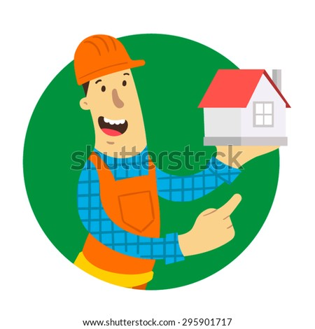 Happy builder holding a model of house. Flat design. Vector illustration.