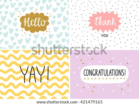 Happy cards set, vector templates