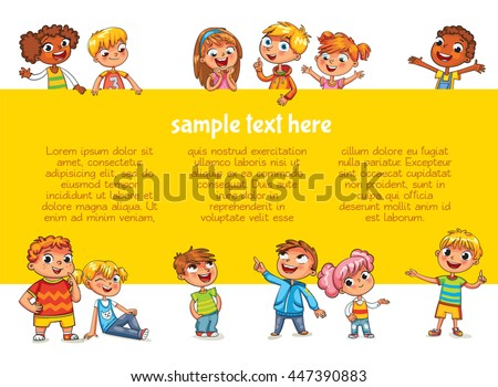 Happy children holding blank poster. Template for advertising brochure. Ready for your message. Children look up with interest. Kid pointing at a blank template. Funny cartoon character. Lorem ipsum