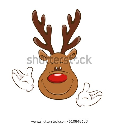 Happy Christmas reindeer greeting you.  Illustration on white background.