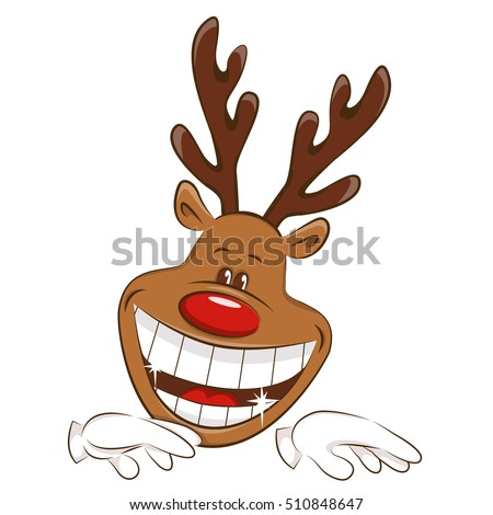 Happy Christmas reindeer is dancing. Illustration on white background.