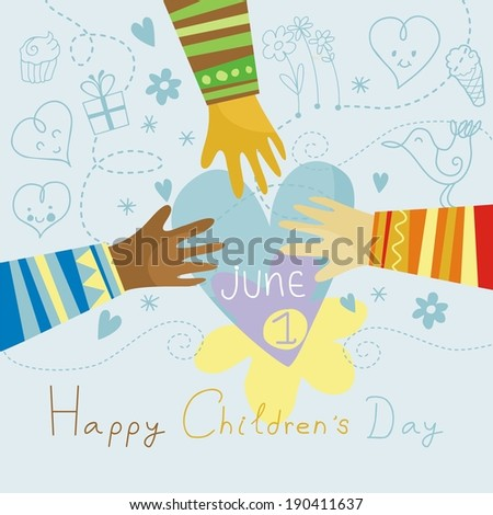 Happy, colorful illustration for Children's Day