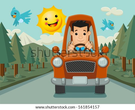 Happy driver that goes to his destiny in a friendly and pleasant landscape, accompanied by two adorable birds flying.