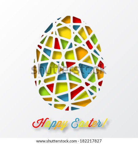 Happy Easter Card Colorful Decorated Egg Vector 182217827 – Easter Card Designs