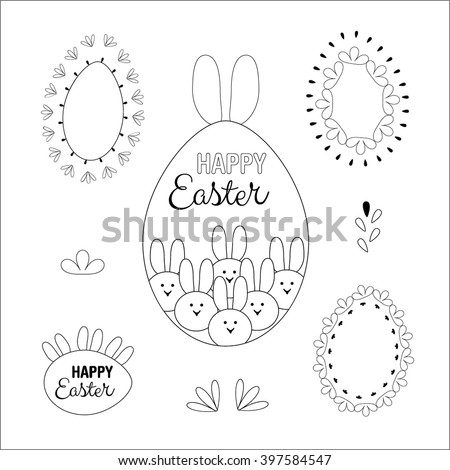 Happy easter design elements. Vector set