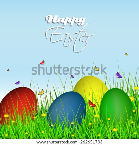 Happy Easter Greeting Card Eggs On Grass With Dandelion And Butterflies