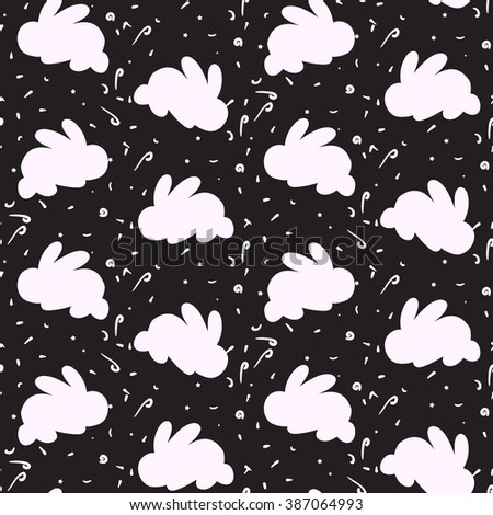 Happy easter seamless pattern with rabbit for print, wrap, fabric, greeting card. Vector