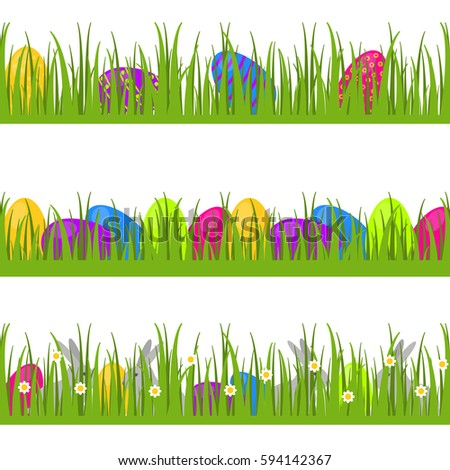 Happy Easter Set Of Vector Seamless Decorative Borders Dividers And Ornaments With Eggs