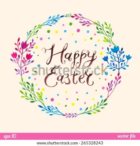 Vector Handwritten Inscription Happy Easter Bunny Vector – Easter Postcard Template