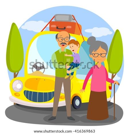 Happy family going for vacation in car in vector