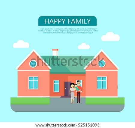 Happy Family On The Background Of Red House With Green Roof Home House In Flat