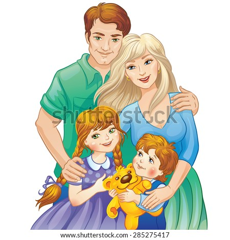 Happy family. Parents and kids. Father and mother, daughter and son. Vector illustration.