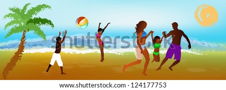 Happy Family rest on exotic sea resort.Vector