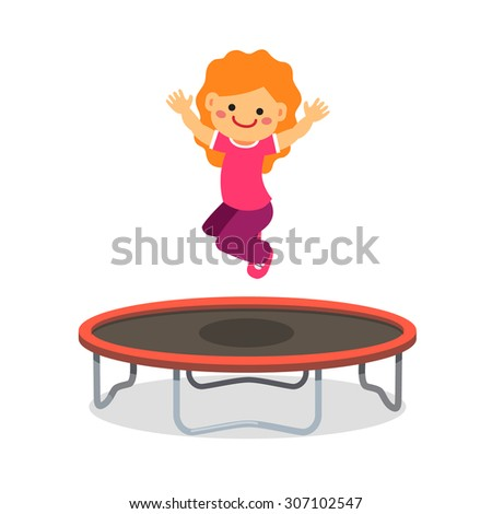 Happy girl jumping on trampoline. Flat style cartoon vector illustration isolated on white background.