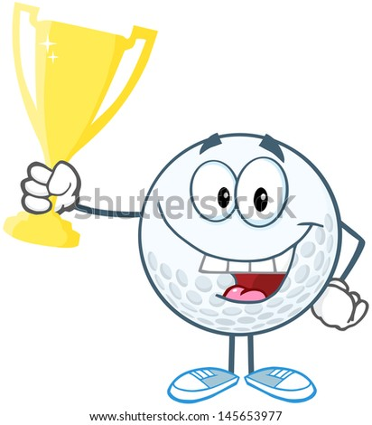 Happy Golf Ball Holding Prize Trophy Cup. Vector Illustration