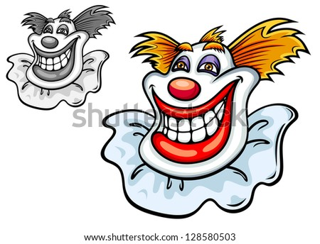 Happy grinning clowns face with a big toothy smile, a red nose and tufts of hair in colour and black and white variations, vector cartoon illustration. Jpeg version also available in gallery