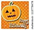 Happy Halloween card with pumpkin, vector - stock vector
