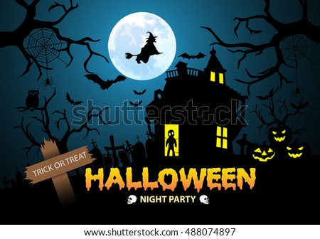 happy halloween night party trick or treat festival holiday design vector illustration - Halloween Night Party