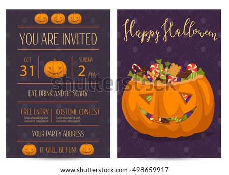 Happy Halloween party invitations with scary pumpkin head jack full of sweet candies, isolated cartoon vector illustration on perpl background. Trick or treat concept. Happy Halloween design template