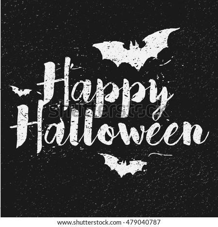 Happy Halloween text on black background