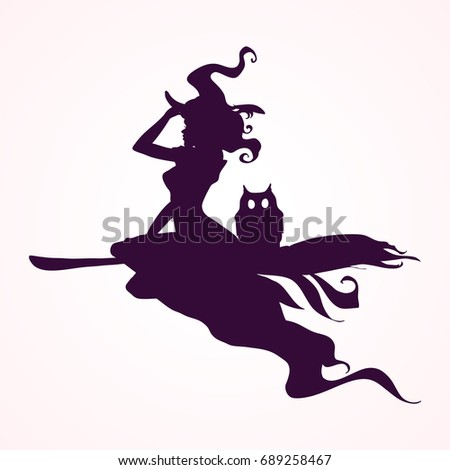 happy halloween witch attributes black witch and wizard silhouettes flying making magic - Flying Halloween Witch