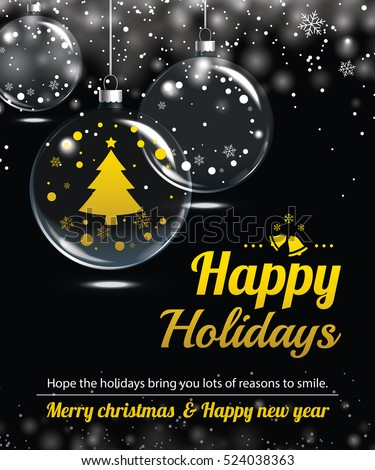 Happy holiday greeting banner and card design template. Merry christmas and New year glass ball invitation theme concept.
