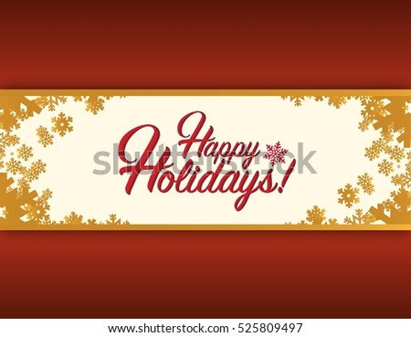 Happy holidays tree sign red snowflake background illustration graphics