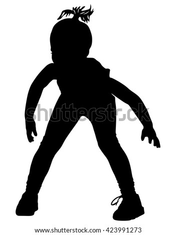 Happy joyful kid, little girl doing exercises, vector silhouette illustration isolated on white background.
