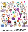 Happy kids. Circus, birthday, party. Joyful ornament in the style of children's drawings. - stock photo