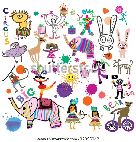 Happy kids. Circus, birthday, party. Joyful ornament in the style of children's drawings.