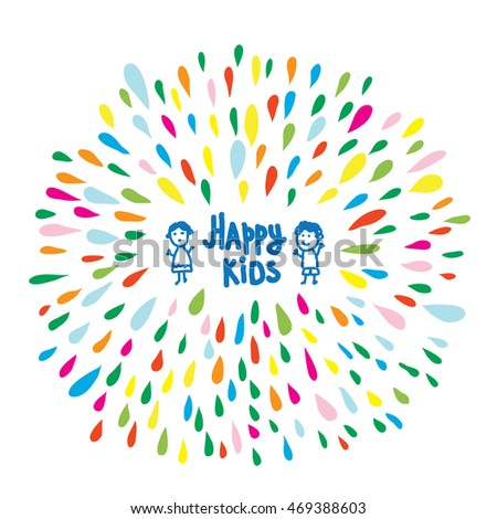 Happy kids logo or card for preschool or kindergarten, funny vector illustration