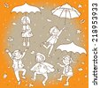 Happy Kids playing under rain. Black and White outline. Great Isolated objects can be use for school children book , advertising , post cards and etc. VECTOR. - stock vector