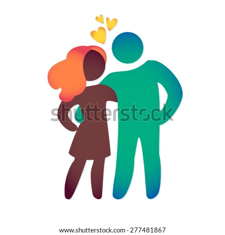 Happy love family icon multicolored in simple figures. Man and woman stand together. Vector can be used as logotype