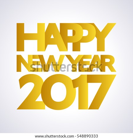 Happy New Year 2017 background with large yellow letters and numbers. Pattern element for cover, print, web, wrapping