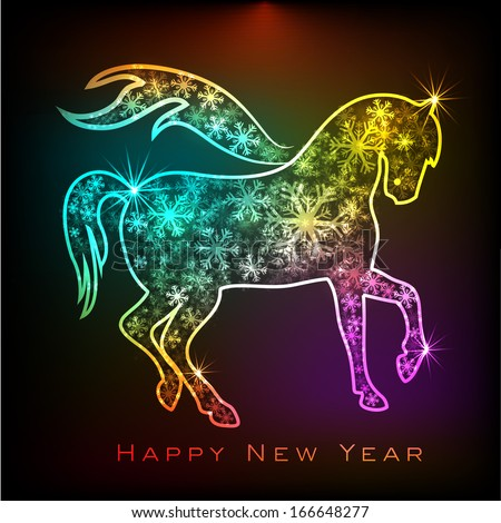 Happy New Year 2014 celebration flyer, banner or poster with colorful Chinese symbol of the year Horse.