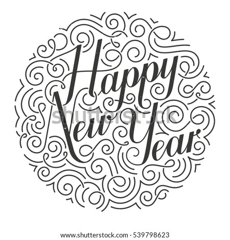 Happy New Year Christmas card. Original calligraphy. Hand drawn typographic inscription. EPS10 vector illustration