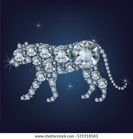 Happy new year 2022 creative greeting card with Tiger made up a lot of diamonds