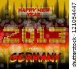 Happy New Year 2013 from Germany - Happy new year's eve with a multicolored background, bright text like little light ball and the colors of the German flag, Back red yellow. Germany. - stock vector