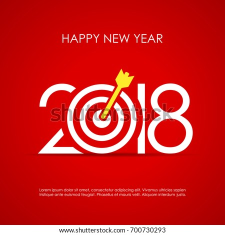 Happy 2018 New Year Greeting Card Stock Vector 700730293 ...