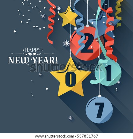 Happy New Year 2017 greeting card in flat design style