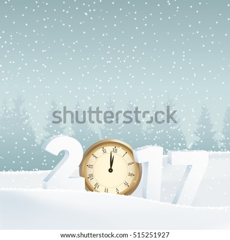 Happy new year 2017 greeting card, invitation. White winter landscape with forest, numbers, old watch and falling snow. Vector illustration background..