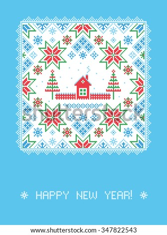 Happy New Year! Greeting card. Vector illustration.