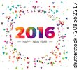 Happy new year 2016 paper text triangular scatter Design - stock vector