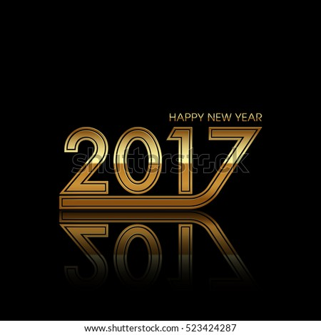 Happy new year 2017 Text Design vector.