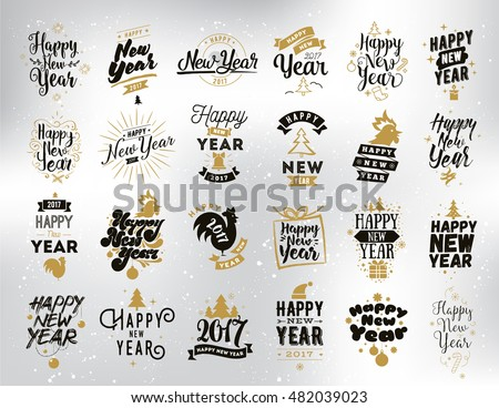 Happy new year 2017 typographic emblems stock vector - Text banner design ...