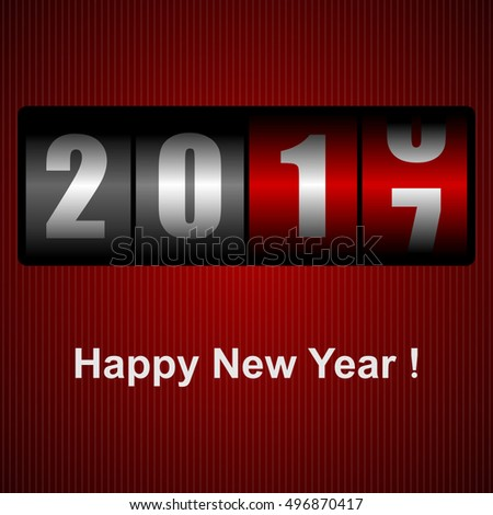 Happy New Year 2017 vector greeting cart with counter