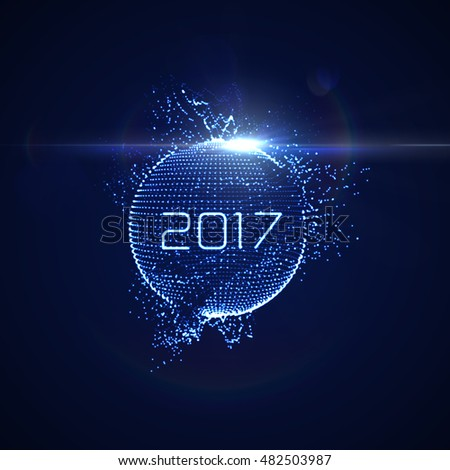 Happy New 2017 Year. Vector holiday illustration of glowing neon 2017 sign with shiny abstract distorted sphere and optical light effect with particles
