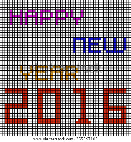 Happy new year 2016 with pixels. Vector illustration. Eps 10